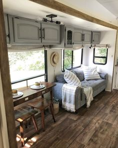Before and After remodel! Finally finished, and for sale. Camper Hacks, Camper Trailers, Camper Ideas, Diy Camper, Camper Life, Rv Life, Travel Trailers, Camper Flooring, Travel Trailer Remodel