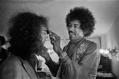 Jimi Hendrix, backstage at Winterland Ballroom, San Francisco, 1968.