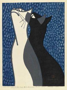KIYOSHI SAITO - Cats - Color woodcut, 1952