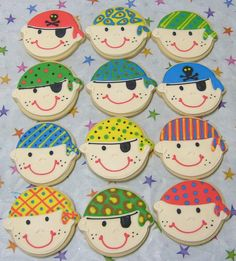 Pirate Face COOKIE FAVORS - Pirate Party Cookies - Girl Pirate Cookies -  Pirate Decorated Cookies - 1 Dozen. $39.99, via Etsy.