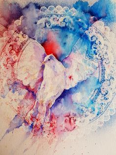 Experimenting day with Brusho and doilies Holy Spirit Come, Brusho, Watercolour Tutorials, How To Find Out, Artwork, Painting, Doilies, Watercolors, Artists