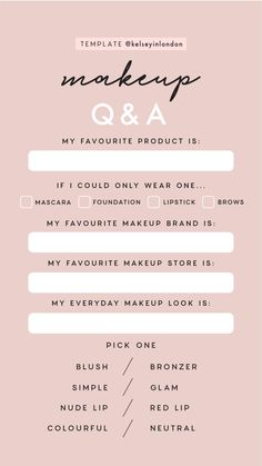 Fashion & Beauty Templates by Quizzes about Beauty & Fashion. Makeup Q&a, Makeup Looks, Makeup Tips, Instagram Story Questions, Instagram Story Ideas, Ig Story, Insta Story, Q And A Questions, Instagram Story Template