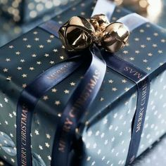 Starry, navy blue gift wrap