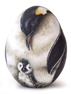 Emperor penguins | Rock painting art by Roberto Rizzo