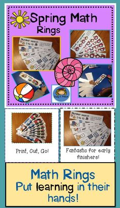 Spring Subitizing, Counting On and Number Sense Math Rings Primary Classroom, Kindergarten Teachers, Art Classroom, Classroom Activities, Learning Activities, Classroom Ideas, Number Number, Number Sense, Numbers
