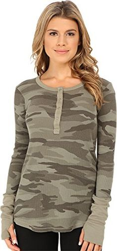 Splendid Women's Camo Thermal Henley, Camo, Medium - Brought to you by Avarsha.com