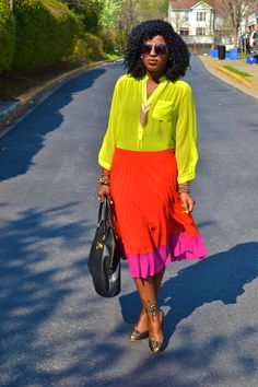 Style Pantry   Neon Chiffon Blouse + Color Block Pleated Skirt