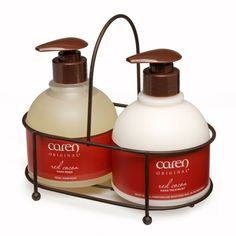Red Cocoa Sink Set Duo: 12oz Hand Treatment and 12oz Hand Wash with stylish bronze sink caddy