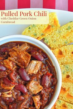 Pulled Pork Chili with Cheddar Green Onion Cornbread. Here\'s a terrific way to stretch a batch of your fave pulled pork into another tasty meal, simply by adding the leftovers to a quick pulled pork chili. Pork Chili Recipe, Chili Recipes, Pork Recipes, Crockpot Recipes, Cooking Recipes, Cooking Chili, Yummy Recipes, Recipies, Dinner Recipes