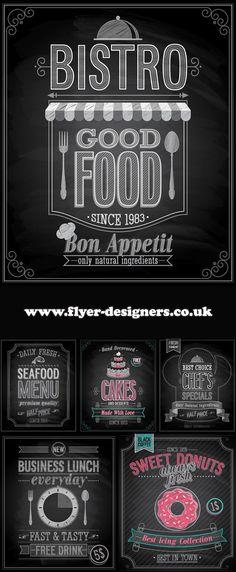 cake and food blackboard graphics suitable for cake flyers www.flyer-designers.co.uk #cakes #foodflyers #flyerdesign