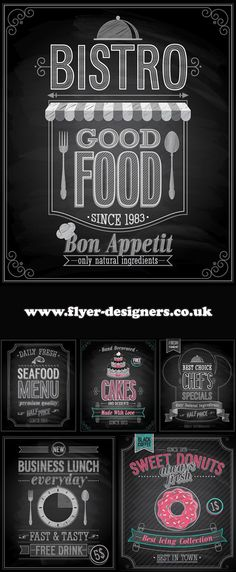 cake and food blackboard graphics suitable for cake flyers www.flyer-designers.co.uk #cakes #foodflyers #flyerdesign