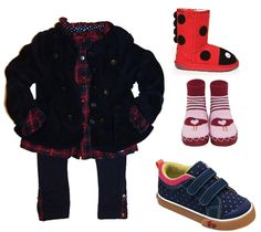 IKKS casual holiday plaid tunic and legging paired with navy IKKS polar fleece band jacket and See Kai Run shoes and accessories.