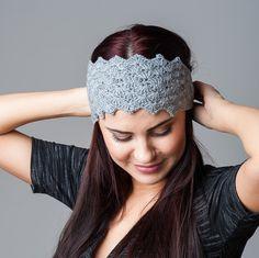 Crochet Headband grey gray Winter Spring Headband by RamuneCrochet