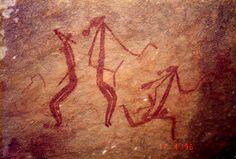 Dancing Bradshaw figures Australia Aborigene Cave Art