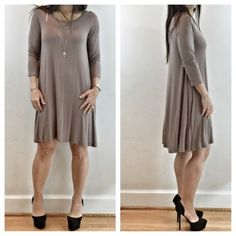 Taupe swing tunic dress SALE Great tunic top dress can be worn with leggings or by itself great swing style Dresses