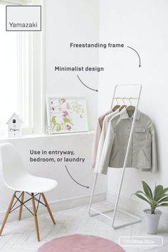 This hanging rack holds plenty of items within a minimal, freestanding frame. Use it in an entryway as a coat closet, in the bedroom for extra clothing storage, or as a laundry rack for hang-to-dry items. Available in black or white.
