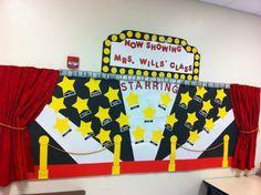Movie Theme Bulletin Board Ideas On the wall. School Displays, Classroom Displays, Classroom Themes, Star Bulletin Boards, Classroom Bulletin Boards, Spotlight Bulletin Board, Graduation Theme, Preschool Graduation, Stars Classroom