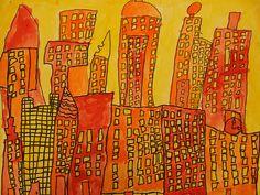 warm color cityscape