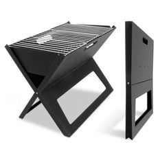 Simply unfold, fill with charcoal and light. The Portable Notebook Grill BBQ Foldable Folding Charcoal Camping Barbecue Picnic is a flat pack BBQ, painted with heat resistant paint to protect from rust and heat, featuring a chrome plate grill and
