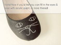 Embroidered flats, kitty or no kitty!