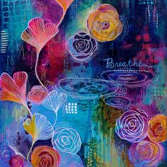 Acrylic painting with white paint pen drawing on top - inspiring color combo by Jennifer Currie