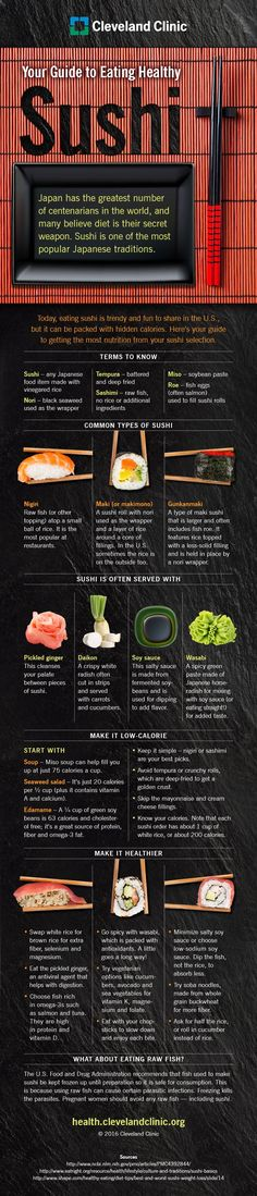 Website Eating sushi is trendy, but it can be packed with hidden calories. Heres your guide to getting the most nutrition selection and eating healthy sushi. Healthy Sushi, Healthy Diet Tips, Diet And Nutrition, Eating Healthy, Healthy Food, Sushi Japan, Sushi Sushi, Sushi Party, Onigirazu