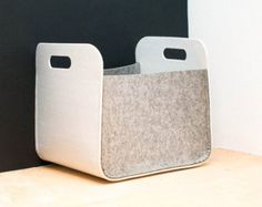 Set of 2 storage boxes with wood buttons. Made from high quality felt.  The storage bin is perfect for modern interior. Storage bin can work in