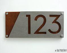 Numéros de maison moderne, en béton avec contreplaqué Marine - numéro de porte adresse - Plaque signe - maison contemporaine