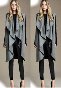 Grey Plain Tailored Collar Vest Mantle Wool Long Elegant Trench Coat