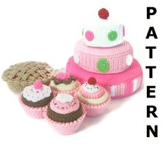 Play Food Crochet Pattern - Just Desserts - finished items made from pattern may be sold. $7.00, via Etsy.