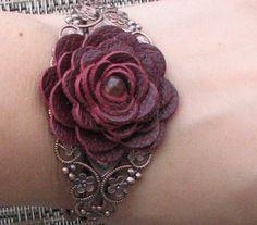 Flower bracelet leather bracelet floral cuff by Leatherblossoms, $32.00