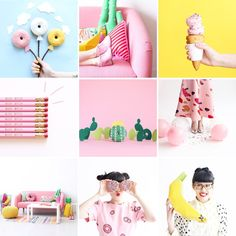 Summer color palette:  pink, yellow, green Visually inspiring Instagram accounts selected by Her Lovely Heart.