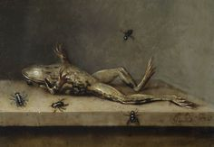 Ambrosius Bosschaert the Younger  (Arnemuiden 1609-1645 Utrecht)   Dead frog with flies  Copper, 12.5 x 17.5 cm  Acquired in 1918; inv. 182     A number of vanitas paintings by Bosschaert are known, and it is to the latter category that this macabre picture, unique in the painter's work, belongs. The copper surface lends a pearly glint to the oil pigments, rendering the frog's damp skin to perfection.