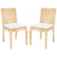 Natural Cane Frame Soft White Cushion Dining Chair Set 2 Dining Chair Set, Dining Room Chairs, Dining Furniture, Side Chairs, Lounge Chairs, Living Room Accents, White Cushions, Nautical Home, Rattan