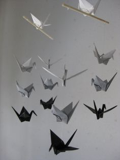 (@logancook --now obssesively looking for my own mobile!) Mini Origami Crane Mobile  Grayscale by makikomo on Etsy, $15.00