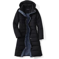 Lands' End Women's Chalet Down Long Winter Coat ($55) ❤ liked on Polyvore featuring outerwear, coats, lands' end, lands end coats, insulated coat and long coat