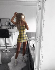 Trend Alert: Schackklänning - Dammode - Lilly is Love Glamouröse Outfits, Teen Fashion Outfits, Cute Casual Outfits, Look Fashion, Stylish Outfits, Womens Fashion, Tumblr Outfits, Tumblr Dress, Yellow Outfits