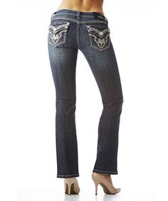 Love this GRACE in LA Blue Embellished Wide-Stitch Bootcut Jeans - Women by GRACE in LA on #zulily! #zulilyfinds