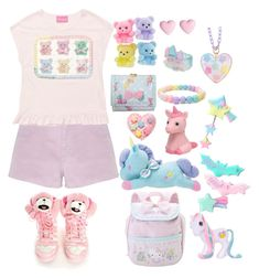 """""""107"""" by dusty-dollparts ❤ liked on Polyvore featuring Accessorize, River Island, adidas, My Little Pony, cute, Pink, girly and colorful"""