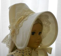 American Girl Doll Clothes - Doll Hat - Caroline's Early 1812 Day Bonnet - Regency Period. $35.00, via Etsy.