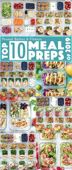 10 healthy meal prep plans, including weekly menus with recipes, nutrition info, and scannable My Fitness Pal barcodes.  Great for tracking macros!