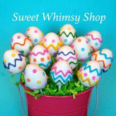 12 Easter Egg Cake Pops, for Easter basket, egg hunt, teacher gift, class snack, table centerpiece, decoration, dessert, cake toppers by SweetWhimsyShop on Etsy https://www.etsy.com/listing/181888697/12-easter-egg-cake-pops-for-easter