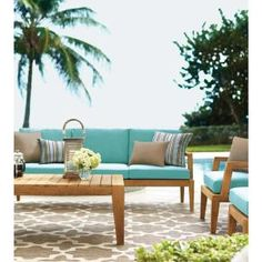 Home Decorators Collection Bermuda 6-Piece All-Weather Eucalyptus Wood Patio Seating Set with Spa Blue Fabric 7633810340 at The Home Depot - Mobile