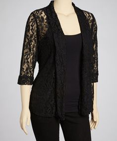 Look what I found on #zulily! Black Floral Lace Jacket - Plus #zulilyfinds