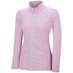 Light Orchid/Ice Blue Adidas Ladies & Plus Size Essentials Full Zip Wind Golf Jacket at #lorisgolfshoppe