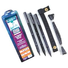 DeWitt Tree Stake Straight Kit Kits) > Kit includes everything needed to stake a tree Includes 15 inch plastic pencil pointed stakes, a non-girdling strap and polypropylene rope Made in China Peony Support, Tree Stakes, Tree Support, Types Of Insects, How To Make Rope, Green Lawn, Garden Structures, Display Boxes, Lawn And Garden