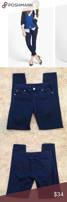"""Kut from the Kloth Jeans Kut From The Kloth Skinny Jeans. Color is a indigo blue. These do have great stretch to them, I cut the tag out though. Measurements are waist laying flat 15"""" across, Rise 8 1/2"""", Inseam 30"""" inches. Can be worn rolled up at the bottom. Style #KP530MA2. Jeans have a dry cleaner crease down the front of legs. Great condition!!!💙 Kut from the Kloth Jeans Skinny"""