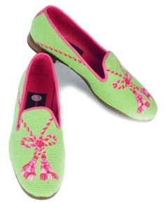 Not handmade but couldn't resist the needlepoint shoe - Pink Tassel on Lime Needlepoint Loafers