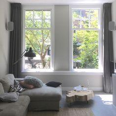 Stoere wasbare linnen donkergrijs. Window Styles, Windows, Style Inspiration, Interior, House, Indoor, Home, Interiors, Homes
