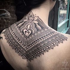 Ornamental nape tattoo by Bintt geometric dotwork blackwork geometricdotwork nape napetattoo napetattoos ornamentaltattoo ornamentaltattoos pattenwroktattoos neck upperback Bintt
